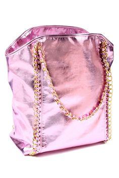 Handbag In Metallic Pink.