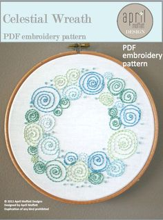 Celestial Wreath PDF Hand Embroidery