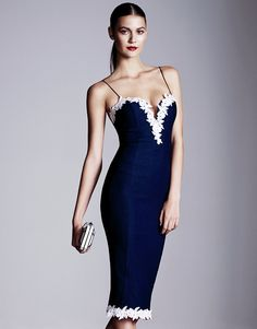 Rare Lace Applique Sweetheart Midi Dress - Be sophisticated and seductive in this navy sweetheart midi dress by Rare. In a bodycon fit with a white contrast lace applique trim around the bust and hem.