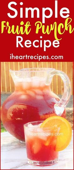 Simple Fruit Punch Recipe | I Heart Recipes #fruitpunch #drinks #summerdrinks Simple Fruit Punch Recipe, Alcoholic Punch Recipes, Alcoholic Drinks, Drink Recipes, Fruit Punch Recipes, Non Alcoholic Fruit Punch, Alcohol Recipes, Yummy Recipes, Yummy Food