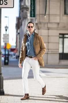 What are the must have pieces for spring? Talking spring style essentials featuring a suede jacket, denim shirt, white denim and a lightweight scarf.