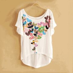 Vintage Flower Printed Short-sleeved T-shirt by Emmaina