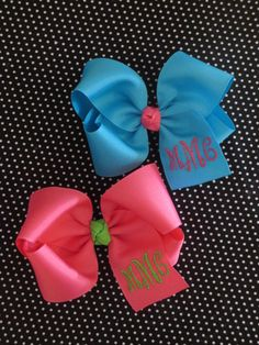 Beautiful and classy.  BIG monogrammed bow... several colors to choose from. on Etsy, $10.00