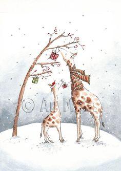 Nieuwjaarsbrief An Melis Illustration Inspiration, Illustration Noel, Winter Illustration, Christmas Illustration, Illustrations, Christmas Sketch, Christmas Rock, Christmas Drawing, Christmas Paintings