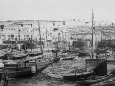 Harbour at Porthleven with steam boat, 1890 Steam Boats, Lungs, Present Day, Still Image, Fishing Boats, Devon, Cornwall, Sailing, Pirates