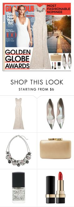 """Dress Your Favorite Golden Globe Nominee"" by dora04 ❤ liked on Polyvore featuring Elie Saab, Christian Dior, White House Black Market, Kayu, Lane Bryant, Dolce&Gabbana, Max Factor, GoldenGlobes and jenniferlawrence"