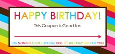 Happy Birthday Printable Coupons. Kids love to receive coupons for things like a day without chores or special time with mom or dad.