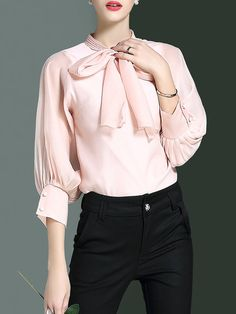 Shop Blouses - Pink Stand Collar Plain 3/4 Sleeve Blouse online. Discover unique designers fashion at StyleWe.com.