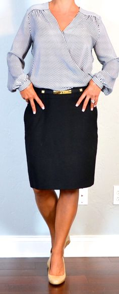 Outfit Posts: outfit post: stripe crossover blouse, black pencil skirt, nude wedges