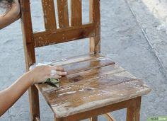 How to Paint an Old Wooden Chair. There are a lot of possibilities when it comes to painting an old wooden chair. You can paint your wood chair to be a showpiece, a room accent, or to strictly serve a utilitarian purpose. After prepping. Refinished Chairs, Painted Wood Chairs, Old Wooden Chairs, Vintage Chairs, Painted Tables, Painting Old Chairs, Painting Kitchen Chairs, Painting Wooden Furniture, Kitchen Chair Makeover