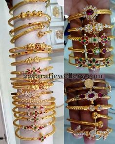 5 to 6 Grams Gold Bangles 22 carat gold kada designs with screw open and CZ stones, rubies, emeralds all over. Classic floral design embellished across the bangle…. Gold Bangles Design, Gold Earrings Designs, Gold Jewellery Design, Designer Jewellery, Jewellery Box, Ring Designs, Silver Bracelets, Bangle Bracelets, Choker Necklaces