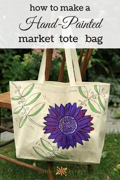 Homemade gift idea: make a hand-painted canvas market bag with fabric paints so it's washable and the design won't fade. #giftidea #ad
