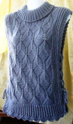 hand knit vest by woolpleasure Knitting Designs, Knitting Stitches, Knitting Patterns Free, Knit Patterns, Free Knitting, Free Pattern, Crochet Cardigan, Knit Crochet, Tricot D'art
