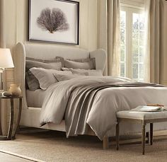 FRENCH WING UPHOLSTERED BED WITHOUT FOOTBOARD $1760 - $2695Special $1410 - $2160