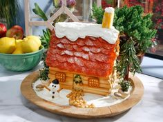 Pass the Cheese and Cracker House : Food Network Holiday Treats, Christmas Treats, Holiday Recipes, Holiday Fun, Festive, Christmas Recipes, Cheese And Cracker Platter, Cracker House, Christmas Gingerbread House
