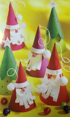 Cute cone Santas and Christmas trees.