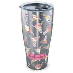 Tervis  Simply Southern - Cow Skull Pattern Stainless Steel Tumbler ($29) ❤ liked on Polyvore featuring home, kitchen & dining, drinkware, pink, stainless tumbler, tervis, pink tumbler, tervis drinkware and tervis tumbler
