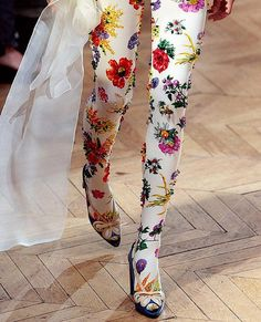 Josep Font's haute couture collection helped us complete our trilogy of DIY hosiery ideas. The first we picked up from our Network Partner, Style Bubble, who Moda Fashion, Womens Fashion, High Fashion, Looks Style, My Style, Floral Tights, White Tights, Lace Tights, Floral Pants