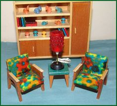 mid-century modern dollhouse furniture from 1960's