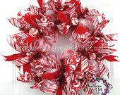 Deco malla guirnalda delgado pantalla puerta o pared rojo blanco Peppermint Candy Holiday decoración de Navidad