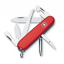 "The ""Hiker"" Swiss Army multi-tool contains fourteen tools in one: large/small blades, can opener, large/small flat-head screwdrivers, bottle opener, wire stripper, ""Philip's"" head screwdriver, reamer, sewing eye, tweezers, toothpick, wood saw, and key ring. Made of high-quality tempered/polished stainless steel, this little ""knife"" can help with anything from cutting wood to removing splinters!  #hiking #backpack #survival #search and rescue #camping #ten essentials #10 essentials"