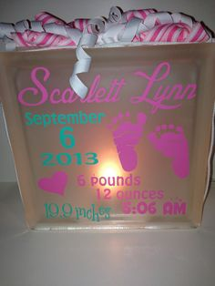 Personalized+Glass+Block+Baby+Announcement+by+RemarkCreations,+$22.00