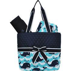 Sailor Waves Whale Print Quilted 3pcs Diaper Bag-Nav