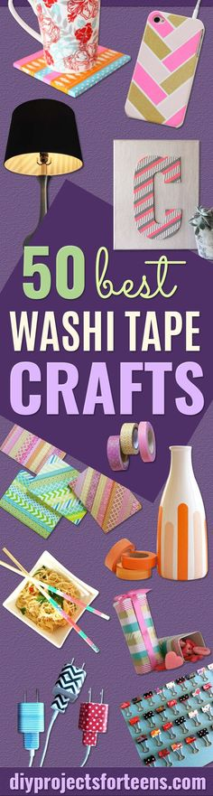 Looking for some awesome but easy DIY ideas? Have you heard of washi tape crafts? You may have just found your perfect DIY projects for the weekend. Not so long ago, washi tape was just some kind of a (Diy Beauty For Teens) Diy Craft Projects, Diy Crafts For Teens, Diy For Girls, Fun Crafts, Craft Ideas, Diy Ideas, School Projects, Decor Crafts, Kids Diy