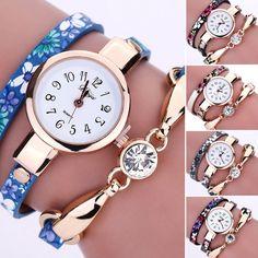 Fashion Womens Girl Rhinestone Flower Bracelet Wrap Analog Dress Wrist Watch