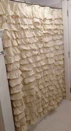 Gorgeous Cream Ruffled Shower Curtain // Country Cottage/ Shabby Chic Home Decor on Etsy, $189.00