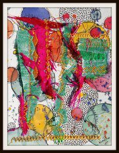 """m a g i c    m i n t"" A collage using silk and watercolors."