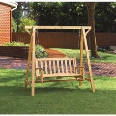 Outdoor Wooden Garden Swing Porch Furniture Swinging Patio Bench Wood  Glider #HomeLocomotion