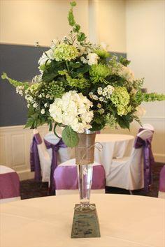 Tall centerpiece white and green Four Leaf Clover Designs - Lehigh Valley/Poconos