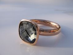 Qudo Ring Estella * Black Diamond * roségold vergoldet *
