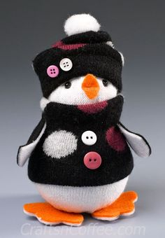 Make an adorable Penguin using socks and Styrofoam shapes. Older kids can create this cutie on their own; younger children will enjoy …