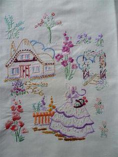 Exquisite Lavender Crinoline Lady Thatch Cottage Hand Emb Panel Cottage Garden | eBay