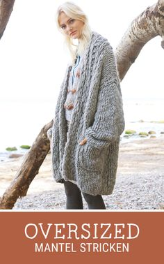 Kostenlose Anleitung: Oversized Mantel mit Taschen stricken / free knitting pattern for an oversized cardigan, Lana Grossa via DaWanda.com
