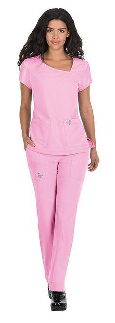 Female Nurse in pink scrubs Dental Uniforms, Healthcare Uniforms, Scrubs Outfit, Scrubs Uniform, Scrubs Pattern, Stylish Scrubs, Beauty Uniforms, Sacs Design, Nurse Costume