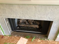 How to Add Herringbone Marble Tile to a Fireplace - Southern Hospitality Southern Sayings, Southern Girls, Southern Living, Tile Around Fireplace, Fireplace Surrounds, Fireplace Ideas, Southern Belle Secrets, Cowgirl Secrets, Cowgirl Quote