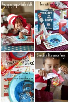 Decorating tips for a Cat in the Hat, Dr. Seuss birthday.