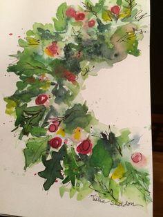 Képtalálat a következőre: Watercolor Christmas Cards Watercolor Projects, Wreath Watercolor, Watercolor Flowers, Watercolor Christmas Cards, Watercolor Cards, Watercolor Paintings, Watercolors, Christmas Colors, Christmas Art