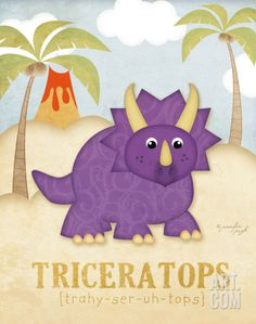 Triceratops Art Print by Jennifer Pugh at Art.com