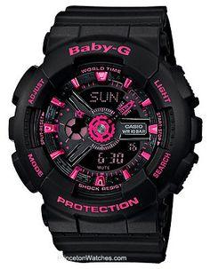 Casio Baby-G Black & Neon Pink Analog Digital Watch - 100 Meters - World Time