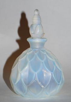 """Sabino France Art Deco Opalescent Glass Petalia Perfume Bottle 5.5"""" Tall Signed by Savesitall on Etsy"""