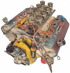 Ford, 1965 427 SOHC, the cam chain was 6 feet long! It passed between the two banks linking both cams with the one chain.
