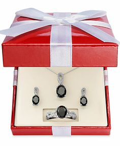 Sterling Silver Necklace, Earring and Ring Set, Onyx (4-1/2 ct. t.w.) and Diamond Accent Pendant, Earring and Ring Set