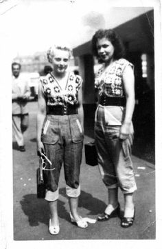 Pedal Pushers, 1940s. This photo looks just like some of my Mom with her friends in the 40s. But pedal pushers were still very in when I was a young girl. Now they are again, but they have been updated with a new name, crop pants. I still love them. I have a white pair.