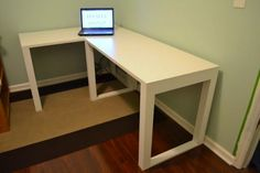 Sarah of The Ugly Duckling House designed this DIY desk for the corner of her study. Having purchased the top from IKEA, she went on to create the legs from a cache of poplar boards, in the process using only a miter saw, Kreg jig, and screws. Paint visually joins the two parts of the assembly into one seamless unit.