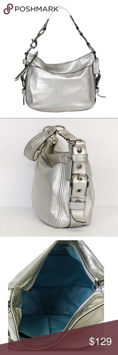 Coach Silver Bag Excellent condition! Measures 8 x 13. Beautiful silver with heavy silver hardware & Tiffany blue lining inside. Super clean inside & out! Classic Coach bag Coach Bags