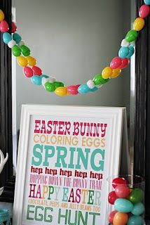 easter egg garland. there are little holes in the tops and bottoms of the eggs which make the threading oh-so-easy.